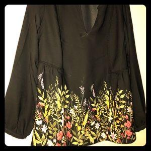 Old Navy black floral print blouse